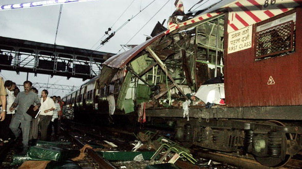 The mangled compartment of one of the blast affected local trains stands at a railway station in Mumbai, 11 July 2006. Seven explosions ripped through commuter trains during evening rush hour in India's financial capital Mumbai, killing 140 people in an attack quickly blamed on terrorists.