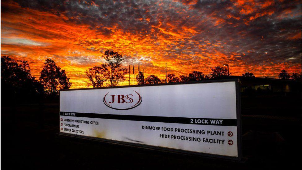JBS sign outside one of the company's Australian plants