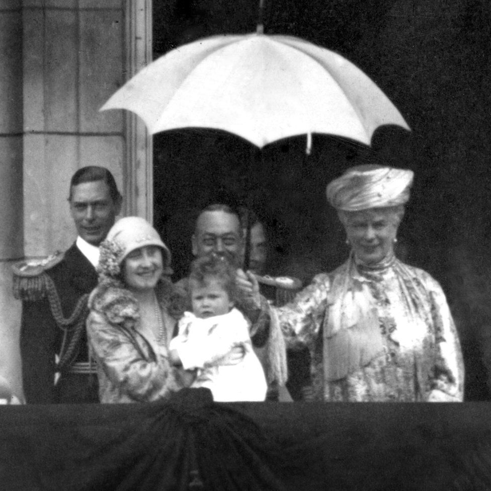 Duke and Duchess of York with King George V and Queen Mary and Princess Elizabeth on the balcony of Buckingham Palace