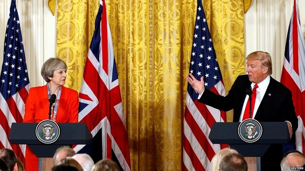Theresa May and Donald Trump during the prime minister's visit to Washington in January 2017