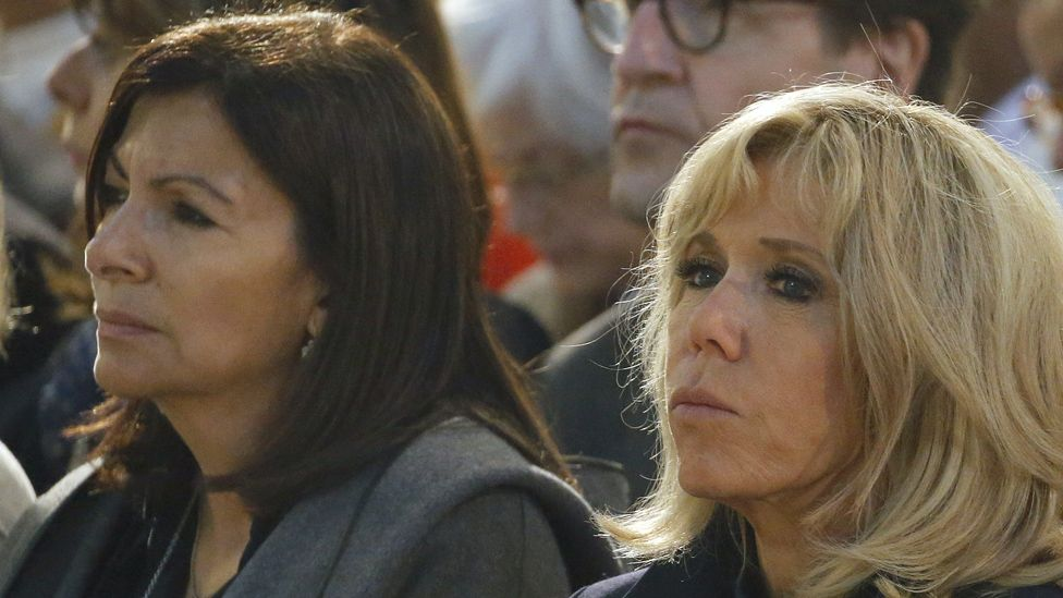 Paris Mayor Anne Hidalgo and wife of the French president, Brigitte Macron