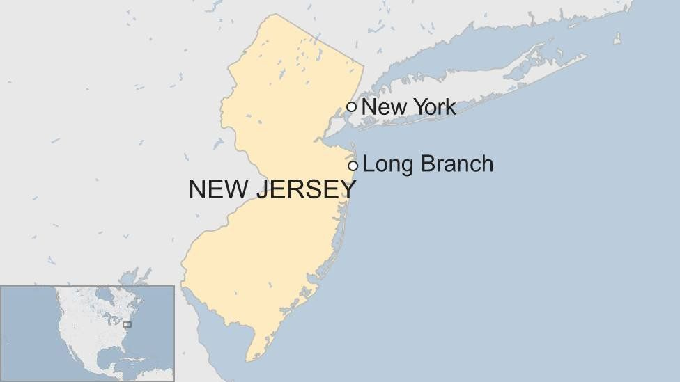 Map showing Long Branch, New Jersey