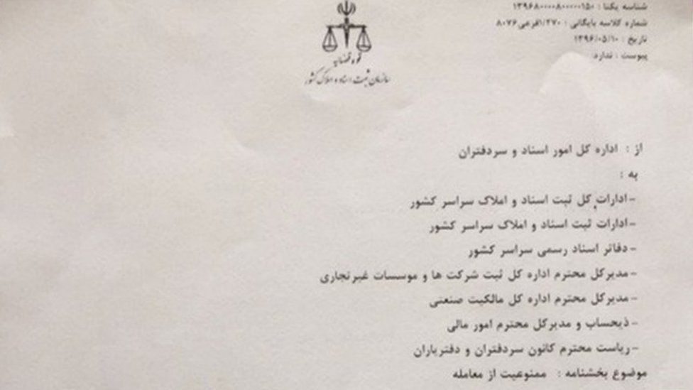 Photograph of court order freezing assets of BBC Persian staff, former staff and contributors