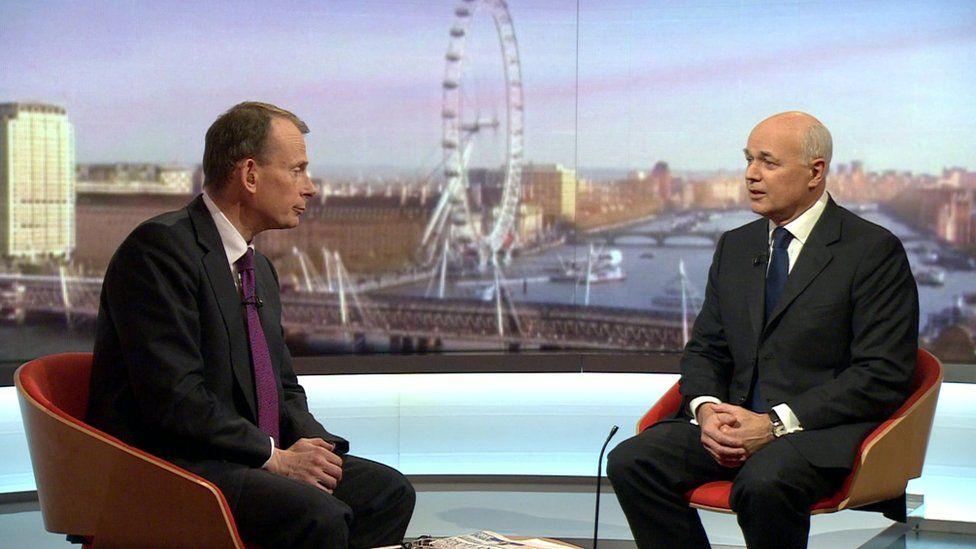 Iain Duncan Smith talking to the BBC's Andrew Marr