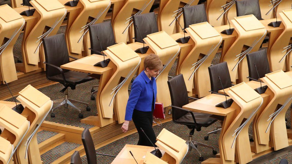 Nicola Sturgeon in empty chamber