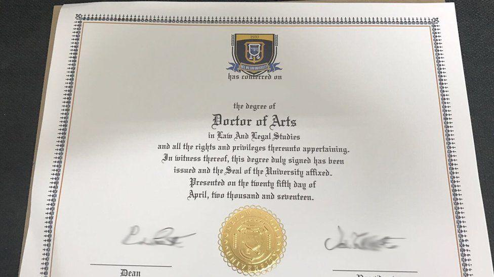 A degree certificate from Axact-run Neil Wilson University