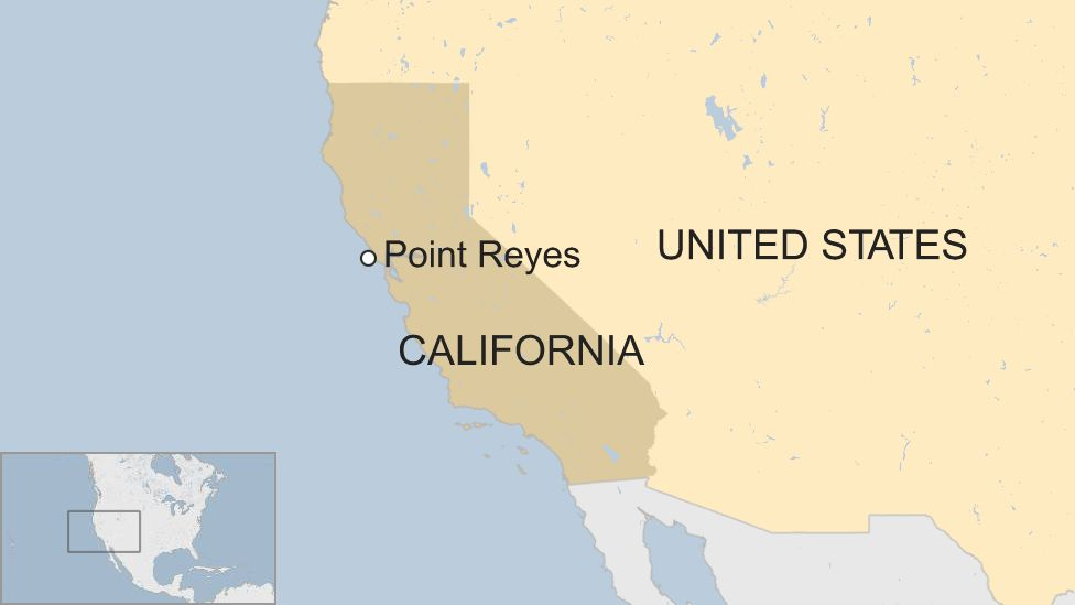 Map of California showing Point Reyes