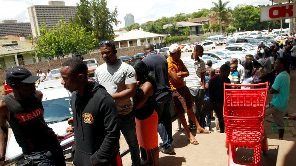 A supermarket queue in Harare