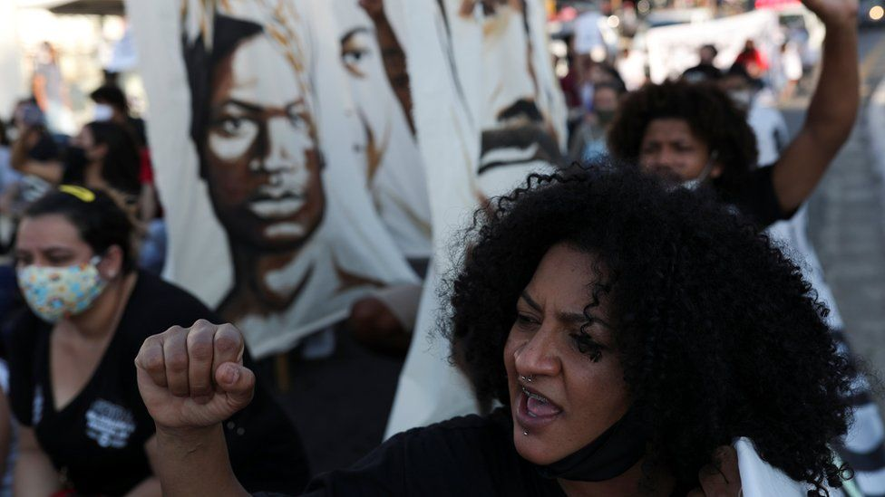 Protesters against police violence and racism in Sao Paulo, Brazil, July 4, 2020.