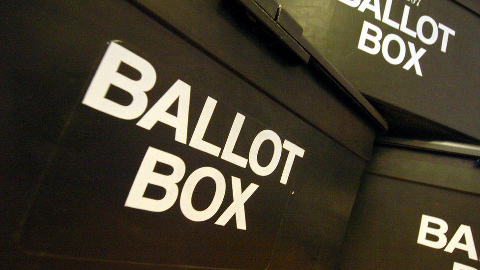 Ballot boxes at a polling station
