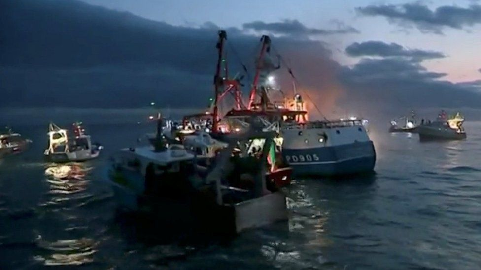 French and British fishing boats collide in the English Channel over scallop fishing rights, August 28, 2018