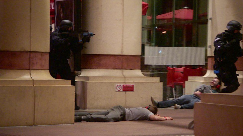 Armed police in the mock terror attack