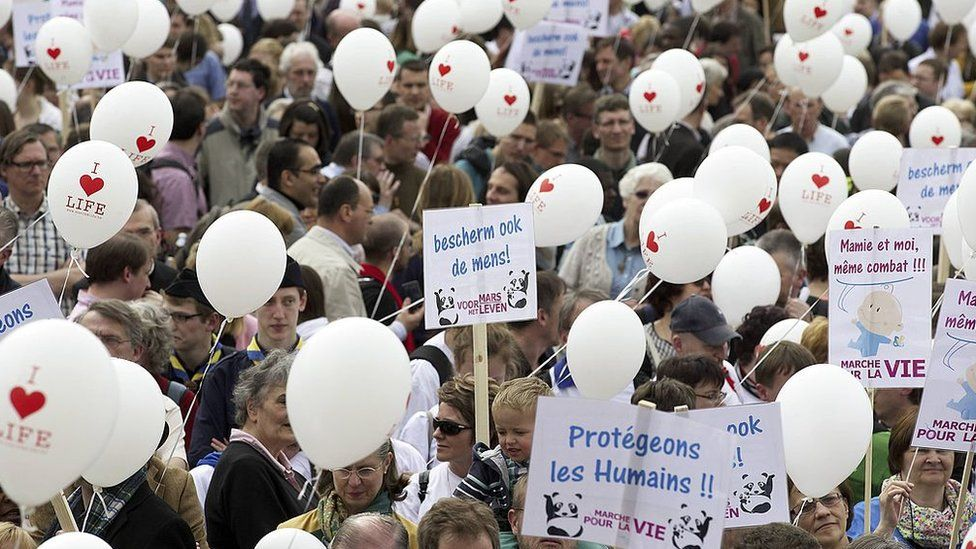 People take part in the March4Life (Marche pour la Vie - Mars voor het Leven) demonstration, on March 30, 2014, in Brussels.