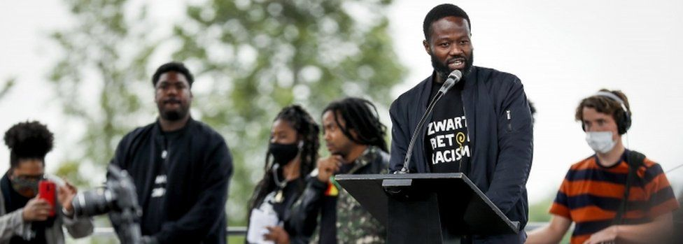 Poet and campaigner Jerry Afriyie leads a movement called Kick Out Zwarte Piet