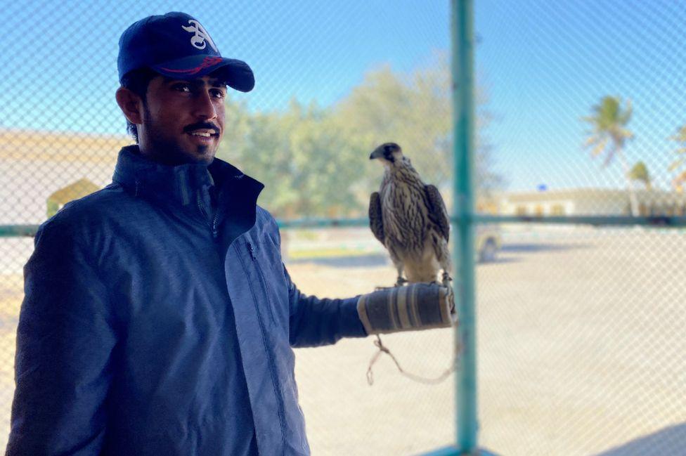 Falcon trainer at Haji Hanif's house