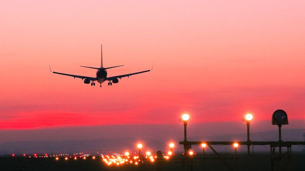 Plane landing at airport
