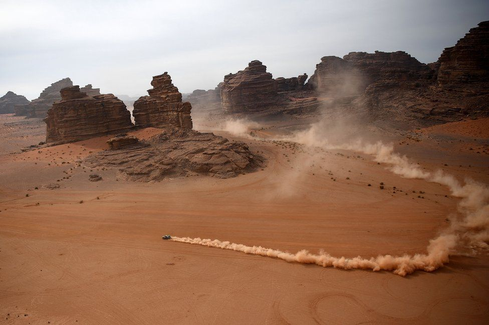 Competitors ride during the Stage 10 of the Dakar Rally 2021 between Neom and Alula in Saudi Arabia, on 13 January 2021.