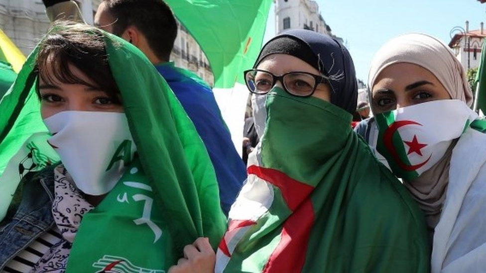 "Algerian protesters during a protest against extending President Abdelaziz Bouteflika""s mandate, in Algiers, Algeria, 15 March 2019."