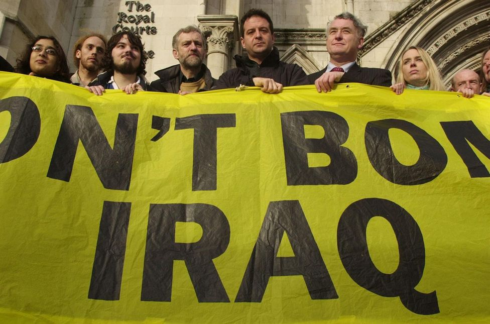 Corbyn and others protest against planned military action in Iraq, 2002