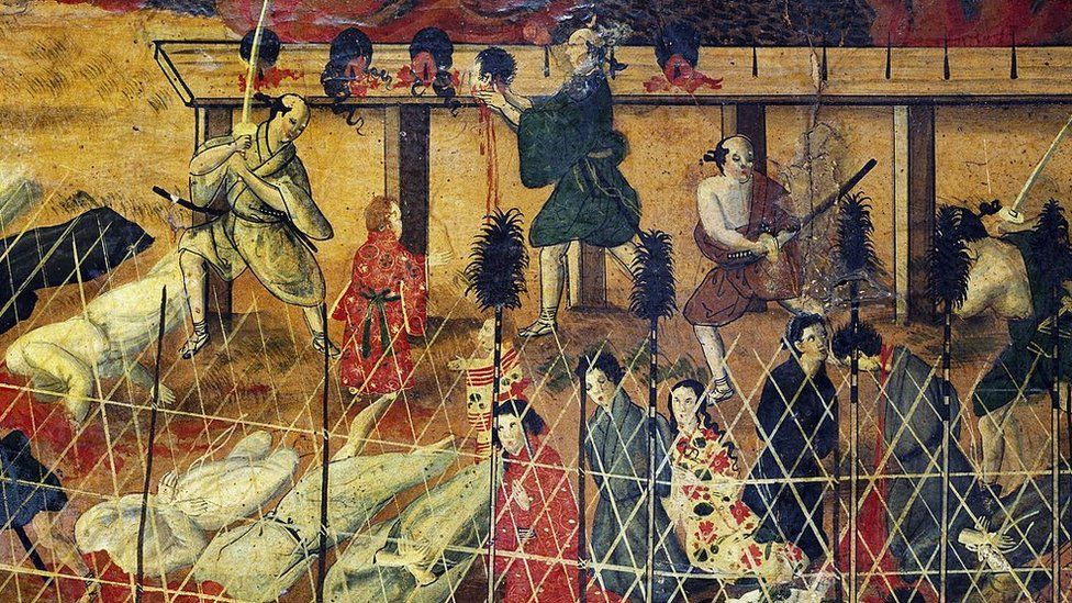 Scene of a beheading, detail from the martyrdom of the Jesuit fathers, Nagasaki, September 10, 1622,