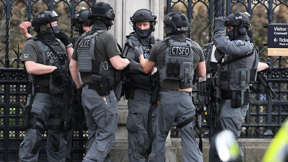 Counter terrorist specialist firearms pfficers at the Westminster attack