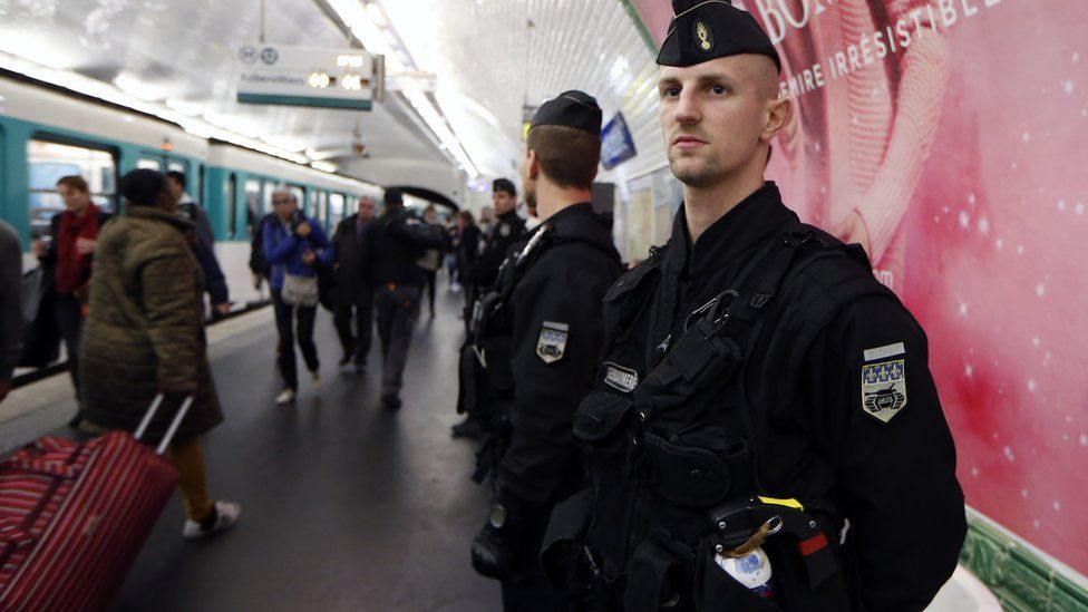 French police patrol railway station in Paris. 19 Nov 2015