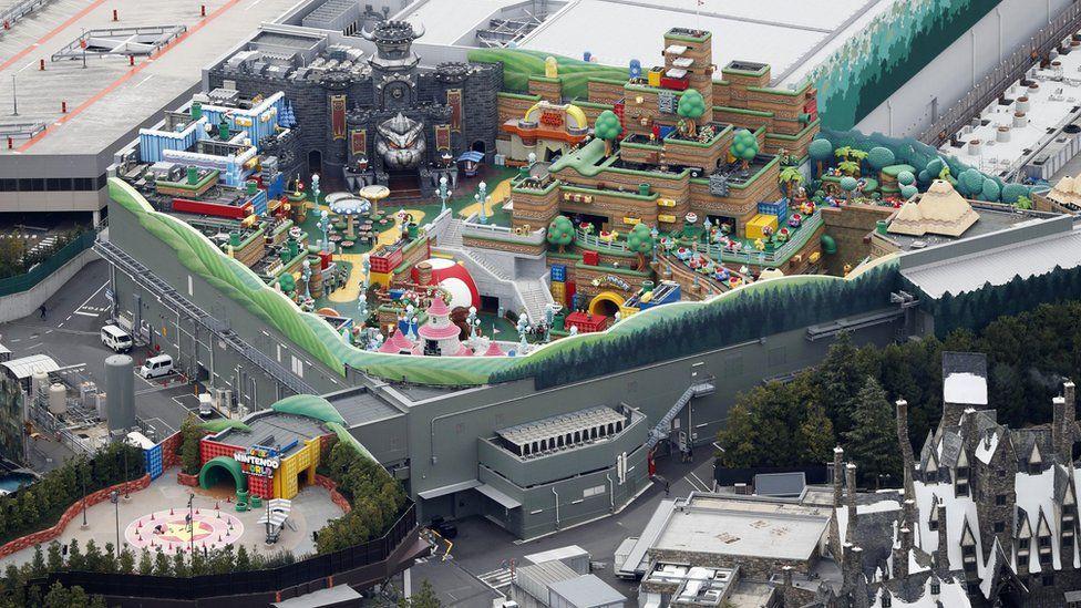 An aerial view of Super Nintendo World