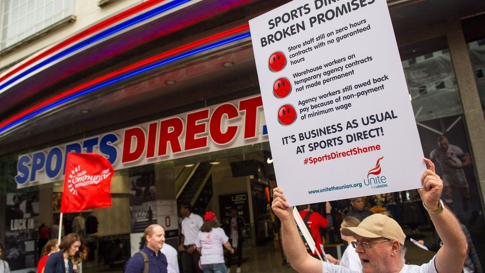 Protester outside Sports Direct outlet