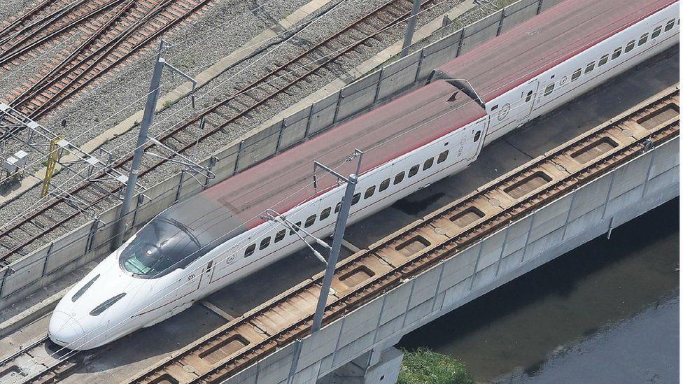 Derailed bullet train