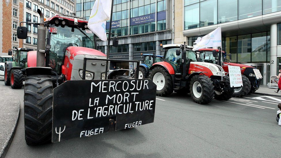 A protest in Brussels against the EU-Mercosur deal in July 2019