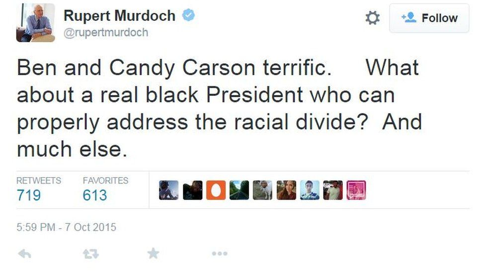 Murdoch tweet: Ben and Candy Carson terrific. What about a real black President who can properly address the racial divide? And much else.