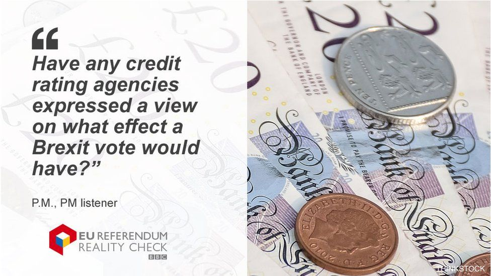 """P.M. asking: """"Have any credit rating agencies expressed a view on what effect a Brexit vote would have?"""""""