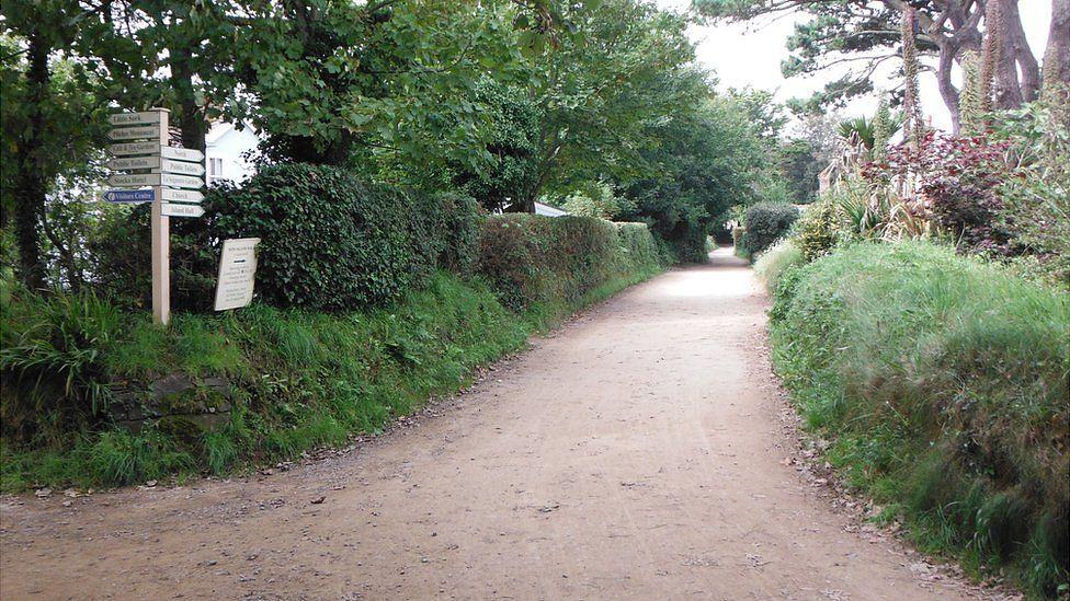 Sark lane and signpost