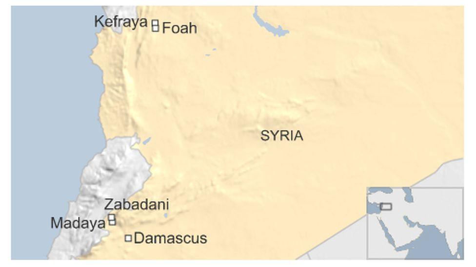 Map of Syria showing the besieged towns of Kefraya, Foah, Madaya and Zabadani