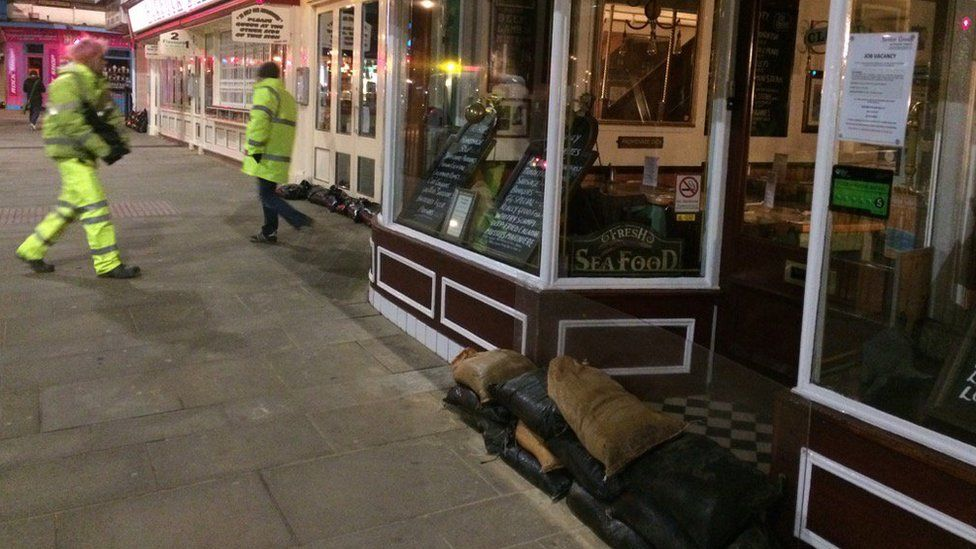Sandbags are protecting businesses on Scarborough seafront