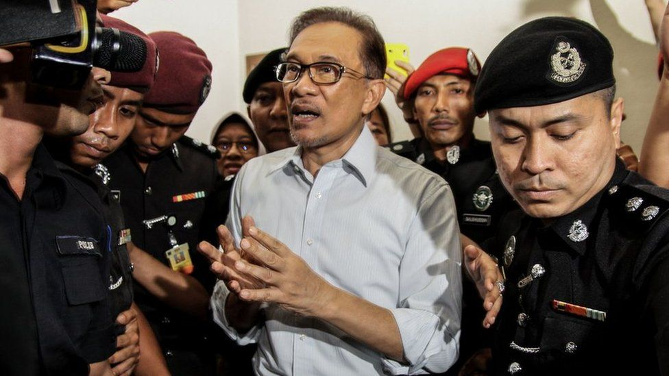 Anwar Ibrahim pictured coming out of court in September 2016