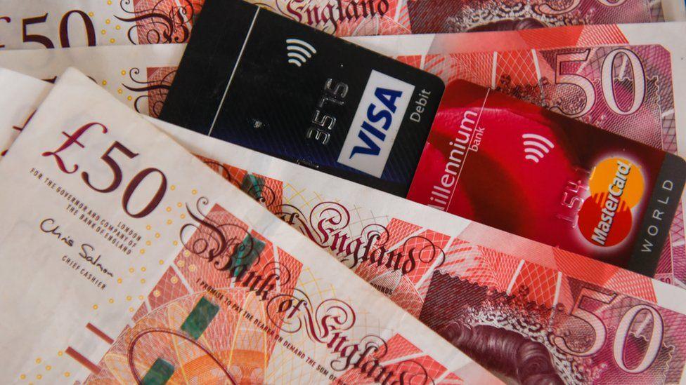 Bank notes and credit card