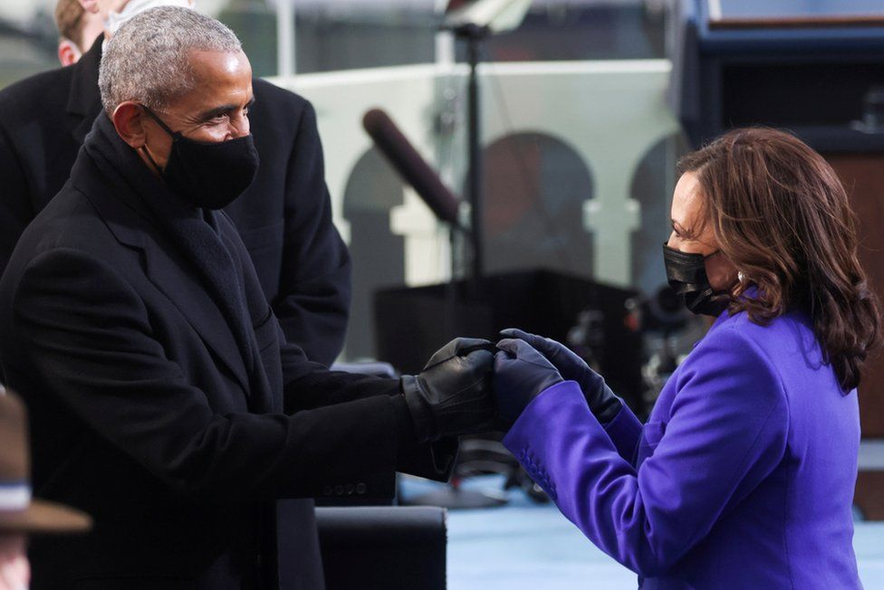 U.S. Vice President-elect Kamala Harris greets former President Barack Obama ahead of the inauguration of Joe Biden as the 46th President of the United States on the West Front of the U.S. Capitol in Washington, 20 January 2021.