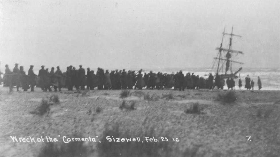 Wreck of the Carmenta, Sizewell, 1916