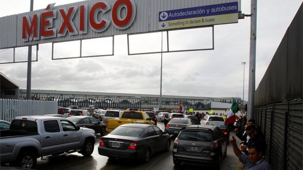 Demonstrators protest against a fuel price hike at the border gate know as El Chaparral in Tijuana, Mexico January 15, 2017.