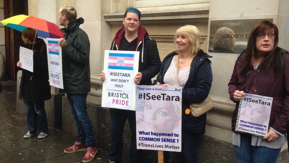 Several demonstrators gathered outside Bristol Crown Court