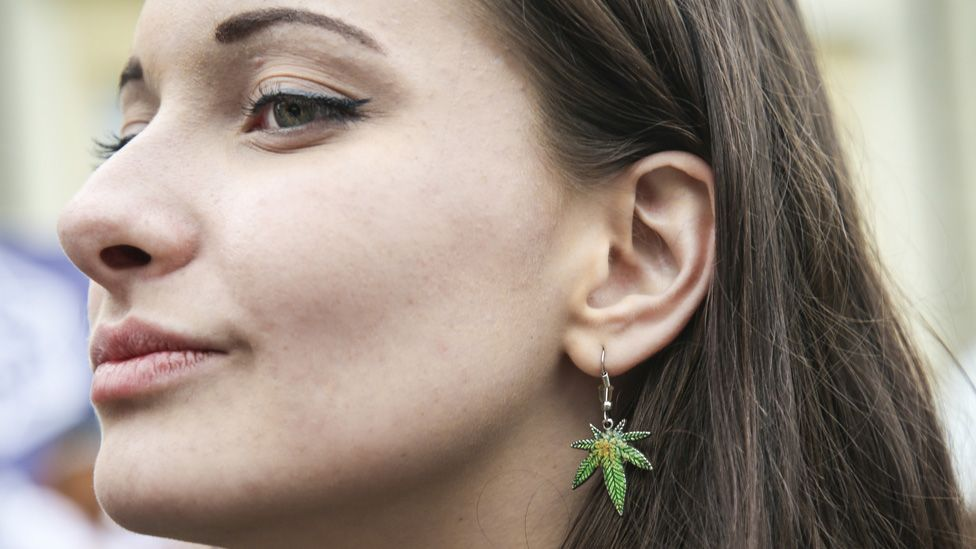 Woman at a march to legalise cannabis, in Krakow