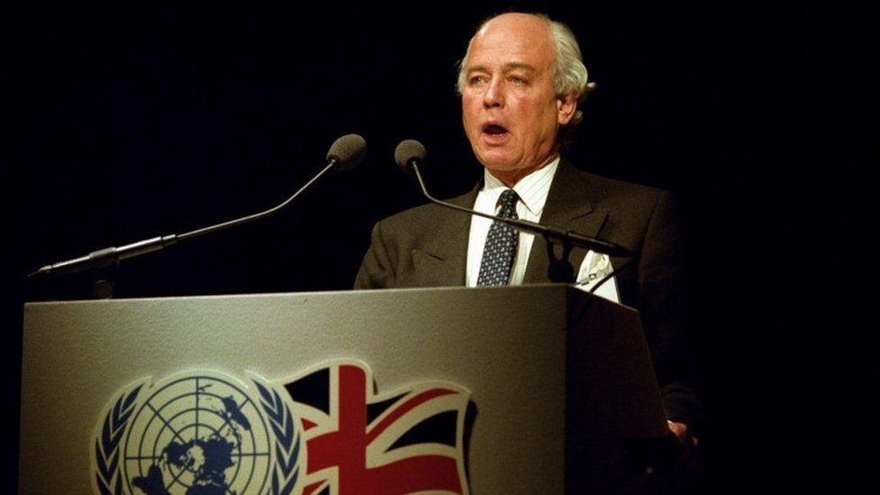 David Waddington speaking in 1990
