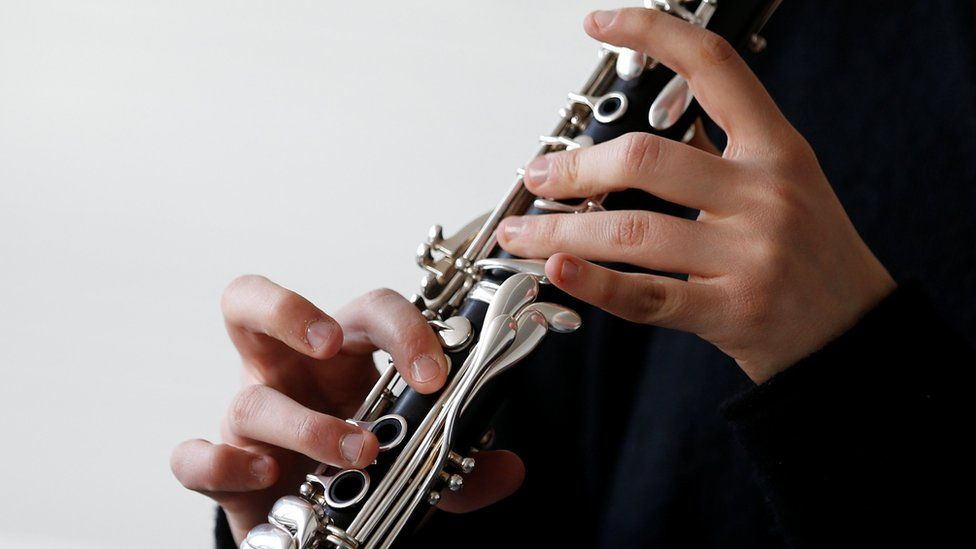 A clarinet player at the Conservatory of Music in central Brussels