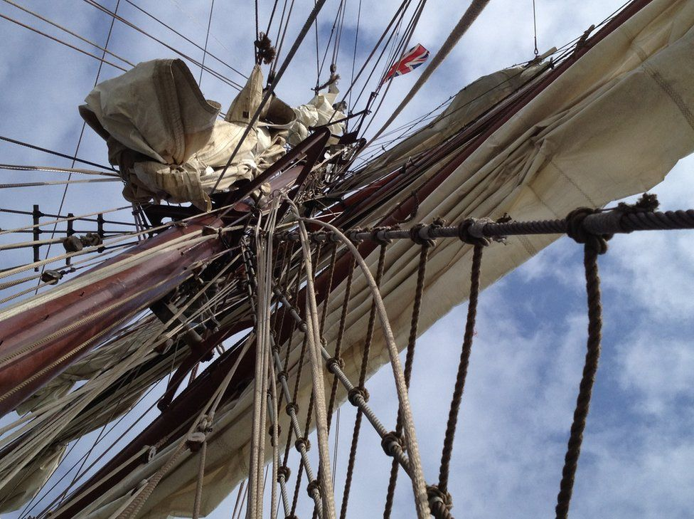 The mast of a ship