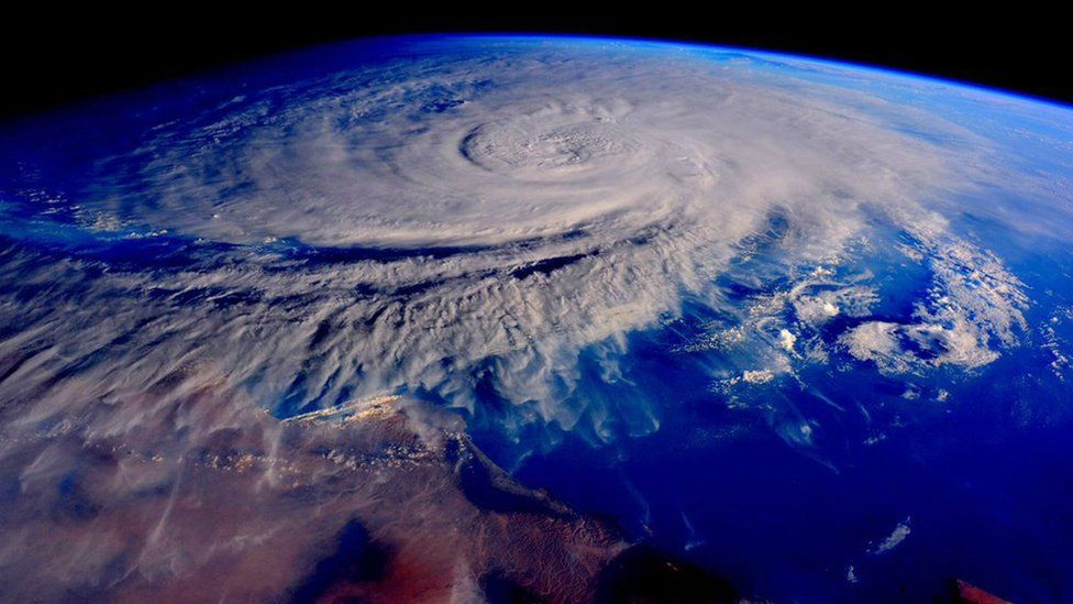 A handout picture by Nasa astronaut Scott Kelly, commander of the International Space Station (ISS) Expedition 45 crew, shows Tropical Cyclone Chapala in the Arabian Sea (31 October 2015)