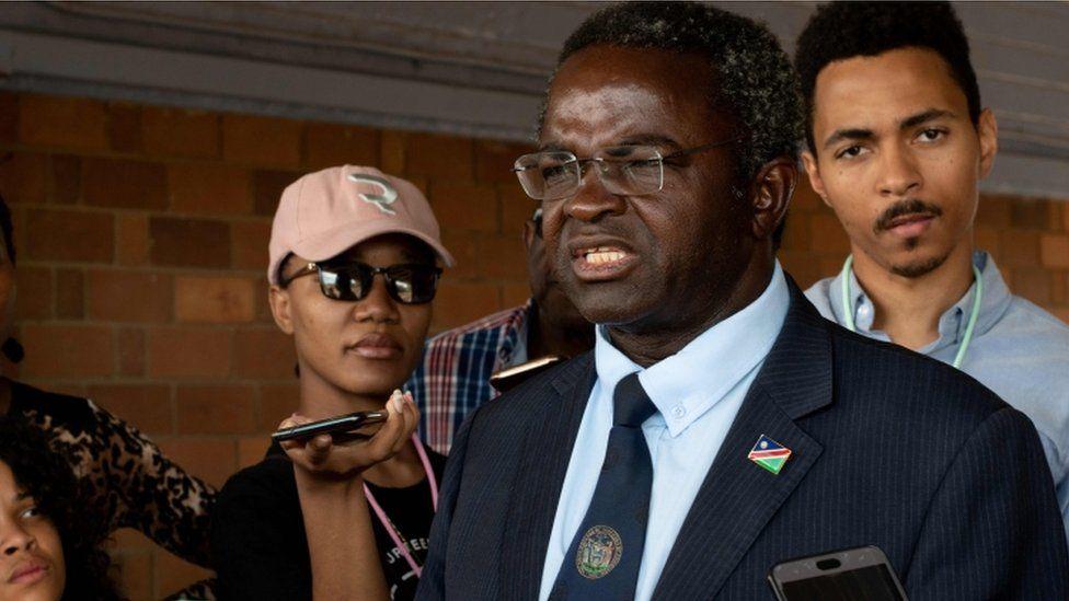 Presidential candidate Panduleni Itula at polling station, Windhoek, 27 November 2019