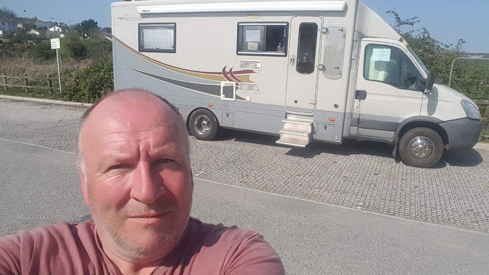 Ernie Kellaway and his campervan