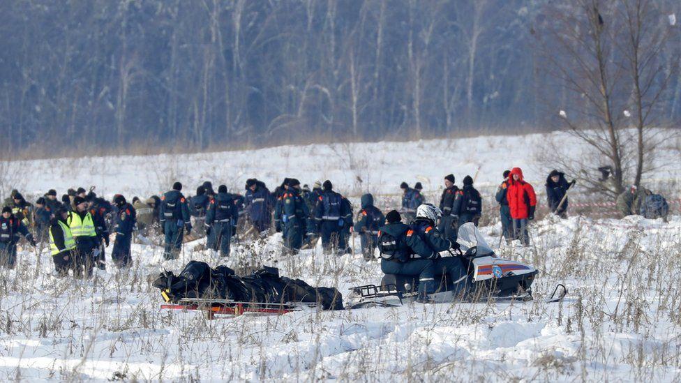 Emergency teams at crash site, 12 Feb 18