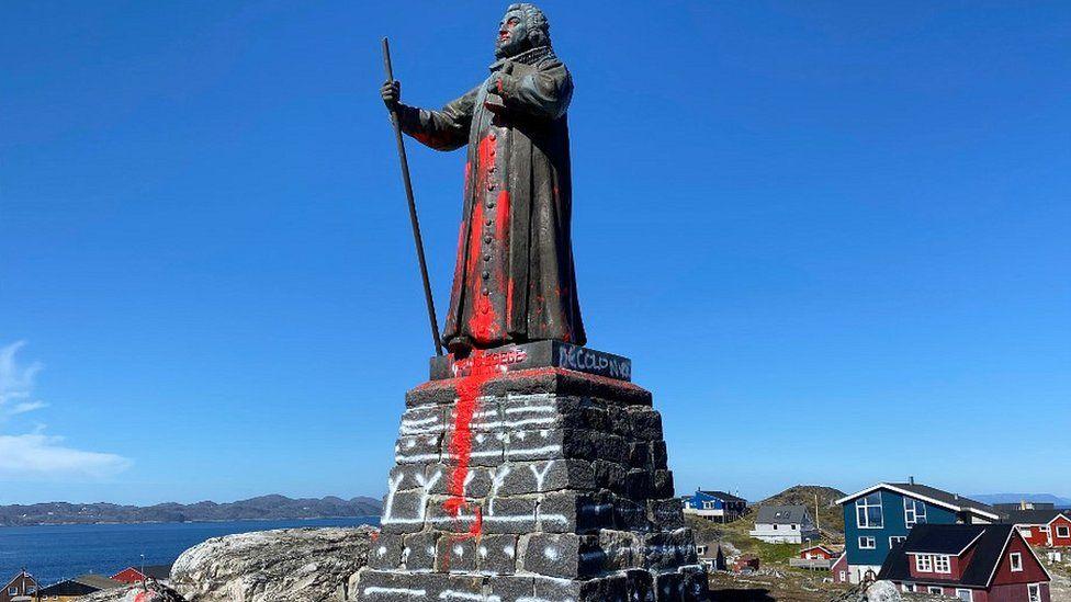 Hans Egede statue vandalised in Nuuk, 21 Jun 20